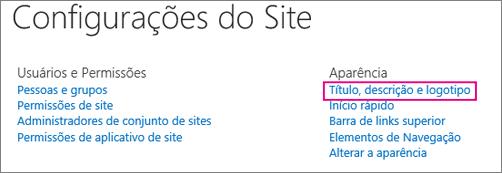 Opção Título, descrição e logotipo em Configurações do Site