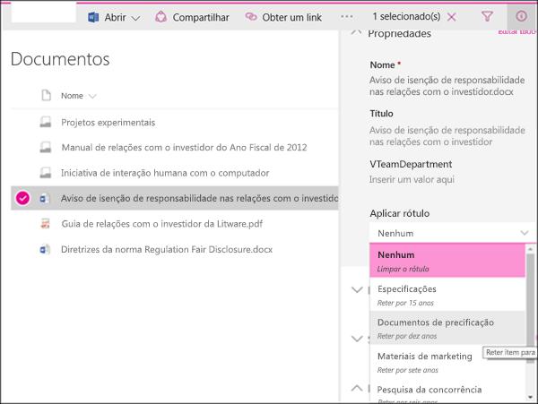 Lista de aplicação de rótulo para um item no SharePoint
