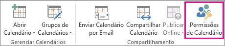 Botão Permissões de Calendário na guia Página inicial do Outlook 2013