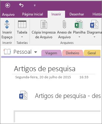 Captura de tela de como inserir um novo diagrama do Visio no OneNote 2016.