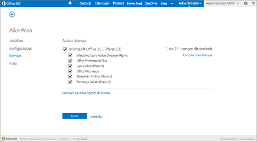 Licenças do Office 365