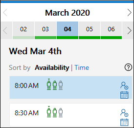 Opções de reunião selecionadas