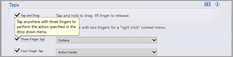 Tela de configurações de touchpad de terceiros