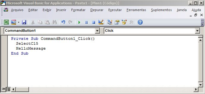Um subprocedimento no Editor do Visual Basic