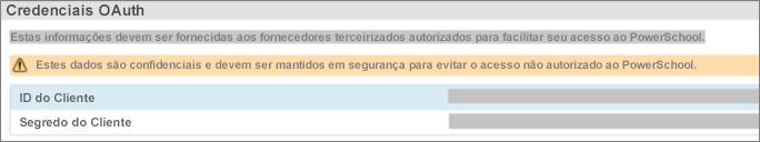 Escolha Configuração de Dados para exibir as credenciais OAuth do plug-in