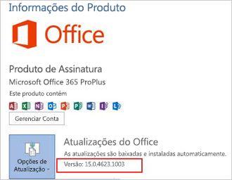 Versão do Office em atualizações do Office