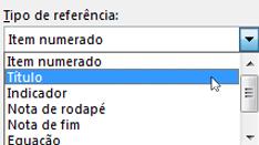 Caixa de diálogo de referência cruzada com tipos de Referência mostrados