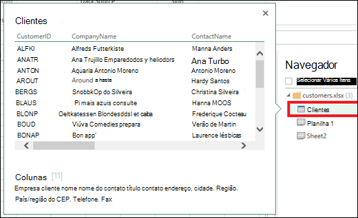 Imagem da caixa de diálogo navegador de consulta de energia