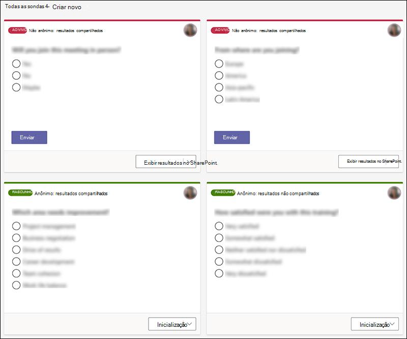 Sondagens do Microsoft Forms criadas no Teams em vários estados, como uma versão ao vivo e de rascunho