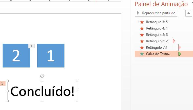 """Após a contagem regressiva, você pode adicionar uma animação para ler """"Concluído!"""""""