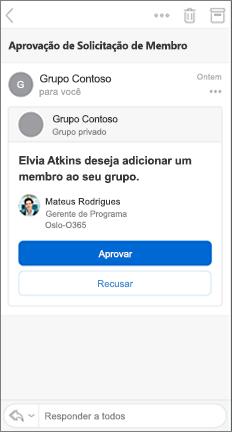 Mensagem de email com os botões Aprovar e Recursar
