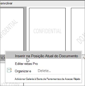 Clique com o botão direito do mouse na miniatura de marca d' água que mostra o comando Inserir na posição do documento atual.