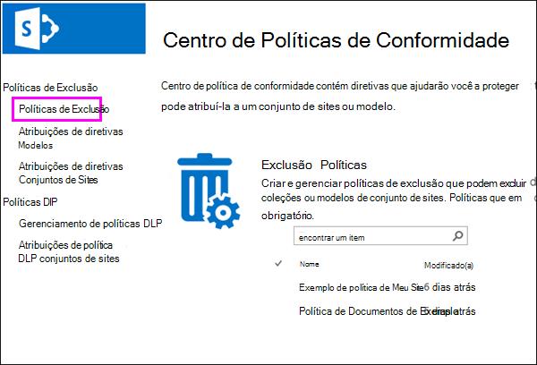 Link de políticas de exclusão
