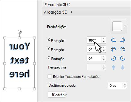 WordArt com uma rotação de 180 graus