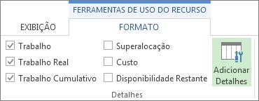 Guia Ferramentas de Uso do Recurso - Formato, botão Adicionar Detalhes
