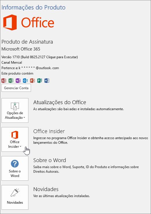 Consentimento do aplicativo Office Insider no aplicativo.