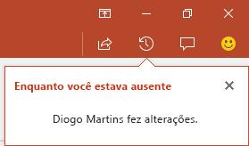 O PowerPoint para Office 365 mostra a você quem fez alterações no seu arquivo compartilhado enquanto você estava fora