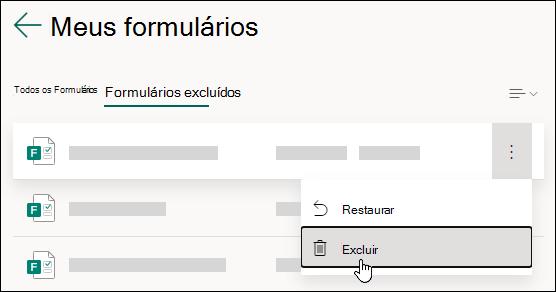 Excluindo um formulário na guia Formulários excluídos do Microsoft Forms.