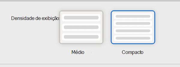 Configurações de leitura do Exibir Densidade