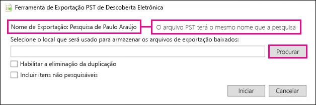 A Ferramenta de Exportação de PST da Descoberta Eletrônica