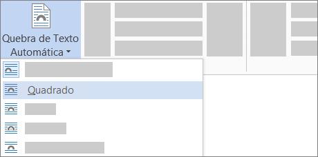 Opções de Quebra de Texto Automática na Faixa de Opções