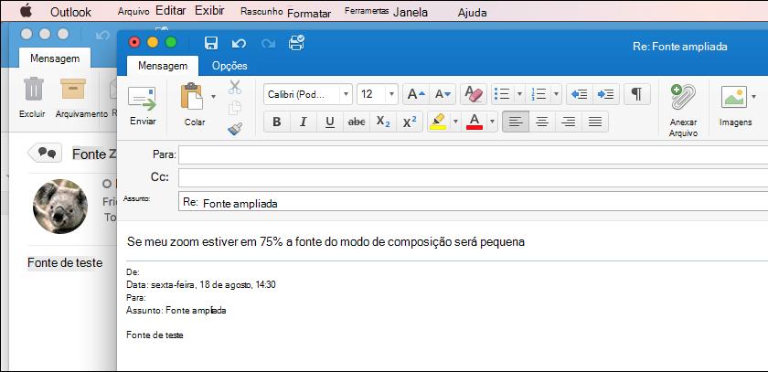 Tamanho de fonte do Outlook para Mac
