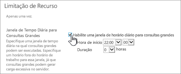 A página de configurações do aplicativo de Administração Central com a janela de Tempo Diária realçada