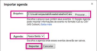 google agenda - caixa de diálogo importar agenda