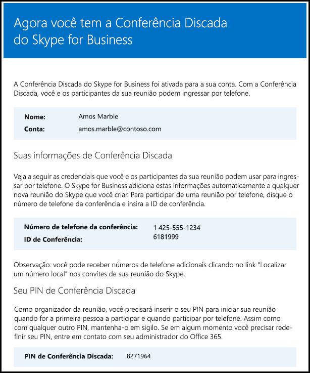 Verificar licença do Skype para Business