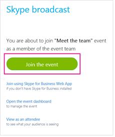 Botão Participar do evento