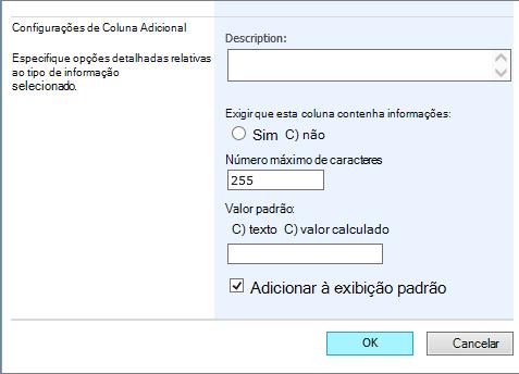 adicionar outras configurações na página Criar coluna