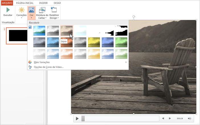 Mudar a cor da sua filmagem em vídeo