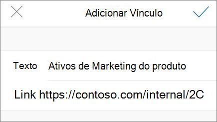 Imagem do menu Adicionar link