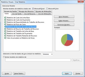 Lista de modelos de relatórios visuais do Excel na caixa de diálogo Exibir Relatórios