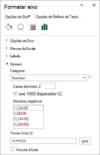 Seção formato de número nas opções do eixo