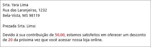 """Documento da mala direta que apresenta """"sua contribuição de 50,00"""" e """"oferece um desconto de 20""""."""