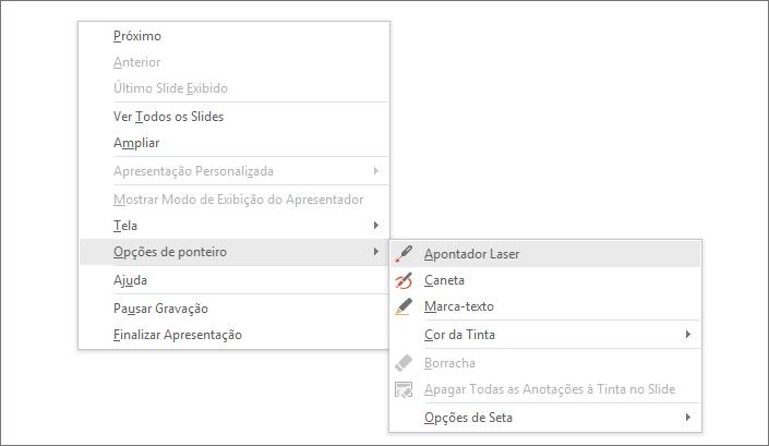 Mostra o menu de opções de ponteiro no PowerPoint