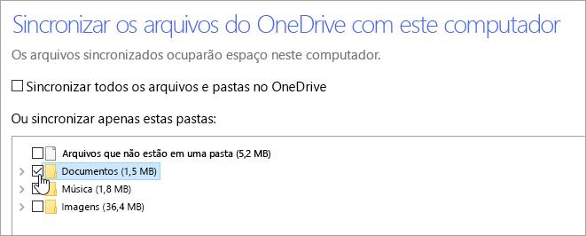 Uma captura de tela mostrando a caixa de diálogo 'Sincronizar seus arquivos do OneDrive para este computador'.