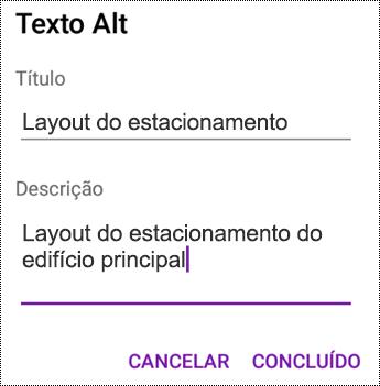 Adicionar texto Alt a imagens no OneNote para Android