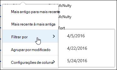 Filtrar o modo de exibição de biblioteca de documentos no Office 365