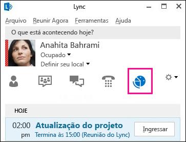 Captura de tela da guia do modo de visualização de reuniões