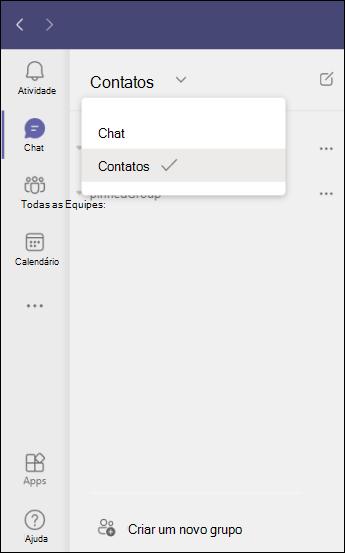 Teams criar um novo grupo de contatos no chat