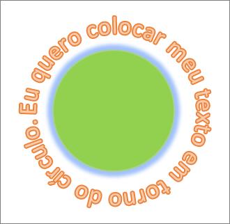 texto curvado em torno de uma forma circular