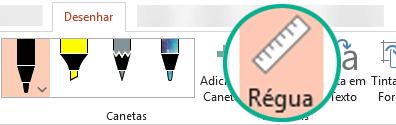 O estêncil de Régua está na guia Desenho da faixa de opções no PowerPoint 2016.