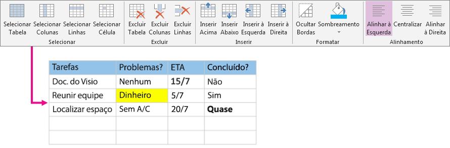 Usar a faixa de opções de tabelas