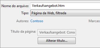 A caixa de diálogo Salvar como com a opção Página da Web, filtrada selecionada