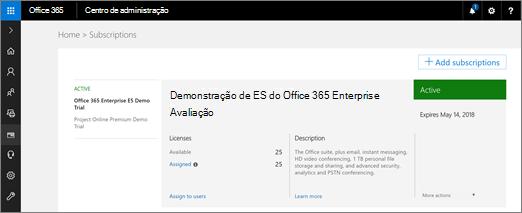 Como um administrador global, entre em portal.office.com e vá para administrador > cobrança