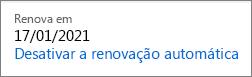 Link para desabilitar a renovação automática de uma assinatura do Office 365 Home.