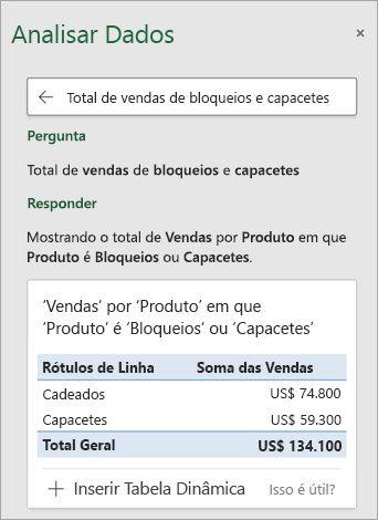 O Ideias no Excel respondendo à uma pergunta sobre quantas proteções ou capacetes foram vendidas.