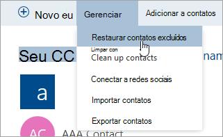 Uma captura de tela do botão Restaurar contatos excluídos.